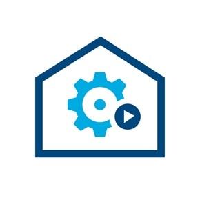 Icon eines Hauses mit einem Zahnrad und Play-Button im Zentrum.