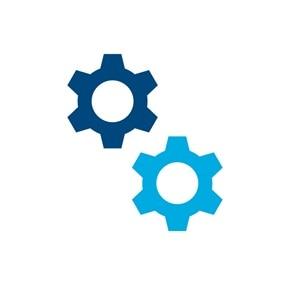 Icon von zwei Zahnrädern, Sinnbild für Einstellungen.