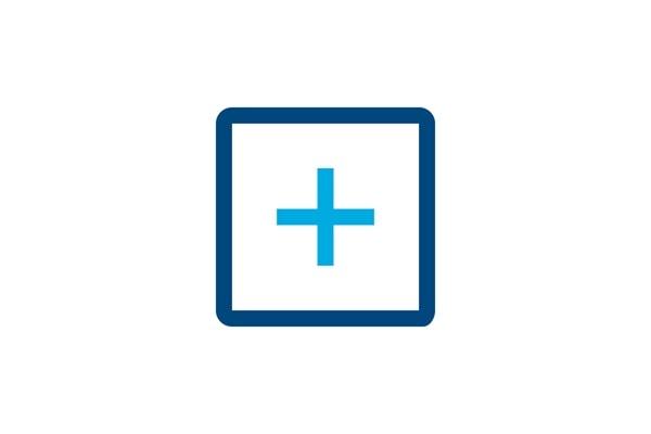 Icon von einem Quadrat mit Plus-Symbol in der Mitte, Sinnbild für Funktionen.
