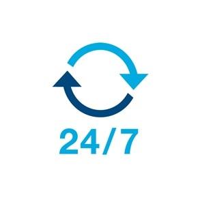 Icon zwei rotierender Pfeile, als Sinnbild für 24/7 Sicherheit.