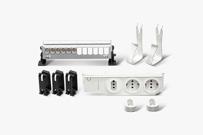 UF00M1 Multimedia-Ausbaupaket mit Steckdose 3-fach, Gerätehalter, Leitungskammer, Patch-Panel 12-fach inklusive 6xRJ45 und Patch-Panel Halter