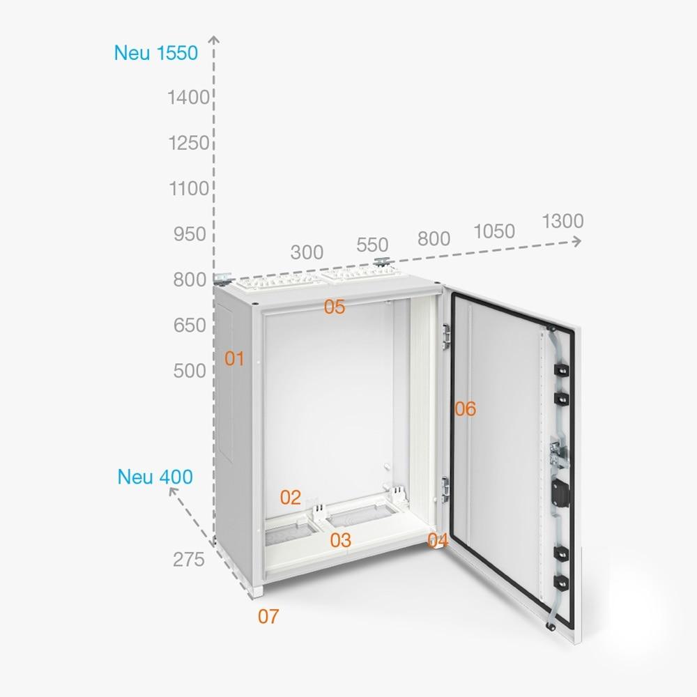 Ein Verteilerschrank mit vielen Vorteilen und einer großen Auswahl an Gehäusegrößen: Das Bild zeigt einen neuen FR-Wandschrank.