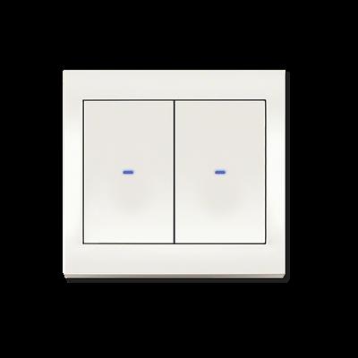 Frontansicht Berker BA 2-fach Taster weiß mit LED-Orientierungslicht