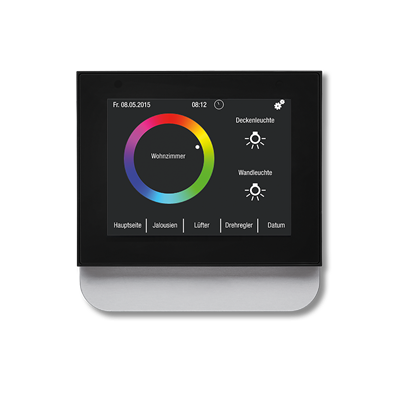 Frontansicht Hager SP KNX Touch Control Farbe silber mit Darstellung Farbkreis Wohnzimmer