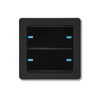 Frontansicht Hager Q.1 2-fach KNX-Tastsensor Farbe schwarz mit LED-Orientierungslicht