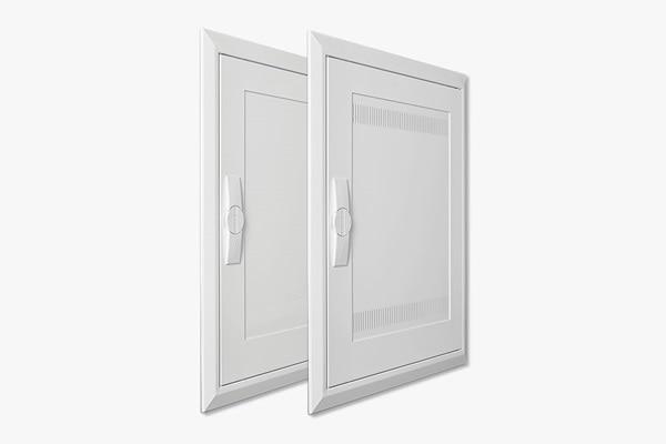 Detailansicht Stahl- und Kunststofftür für Feldverteiler Unterputz von Hager