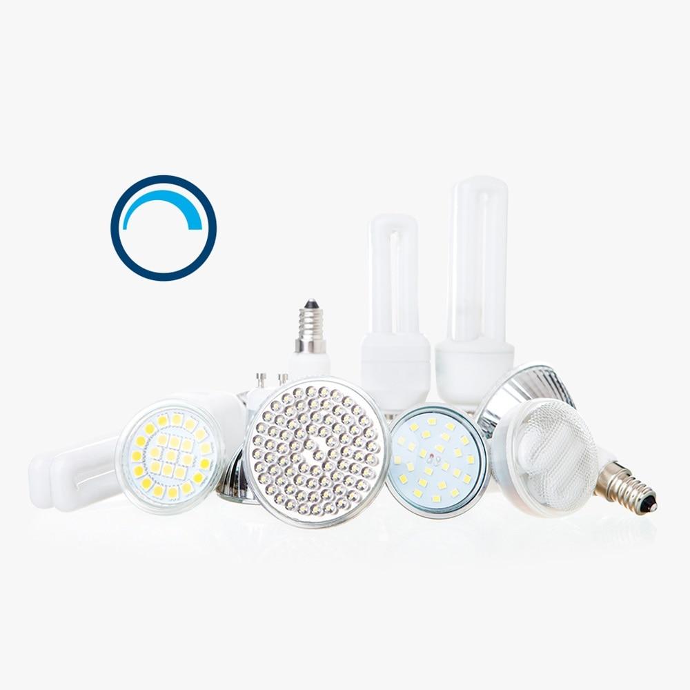 Diese Kennzeichnung gibt an, dass die LED-Lampen daneben dimmbar sind.