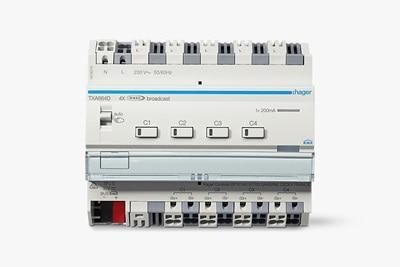 Frontansicht TXA664D: Der KNX/DALI Aktor 4-fach für easy und ETS-Programmierung unterstützt Tunable White und RGBW
