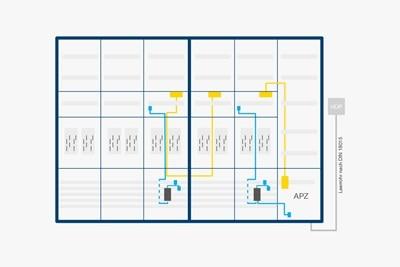 Grafik mit einem Anwendungsbeispiel der RJ45-Buchse im Mehrfamilienhaus
