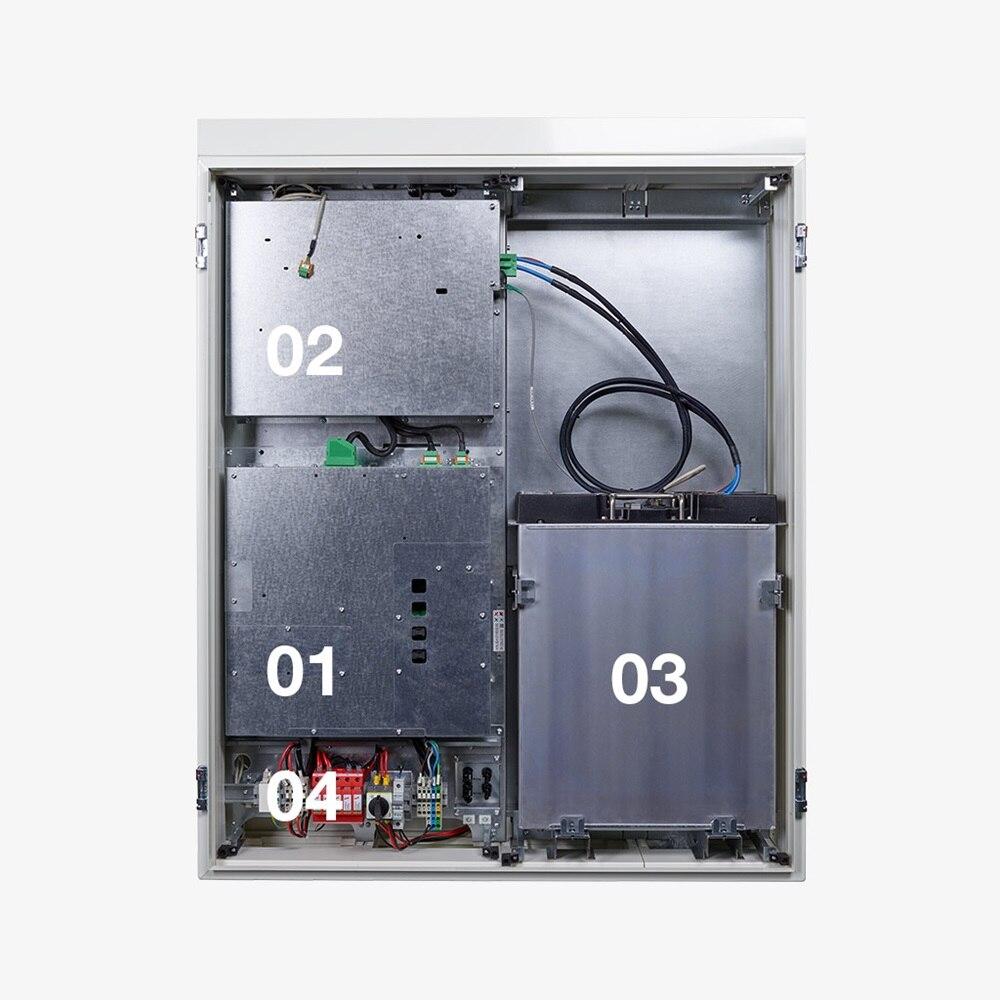 Innenansicht des flow Energiespeichers von Hager mit Batteriewandler, Wechselrichter, Batteriemodulen und Anschlussfeld.