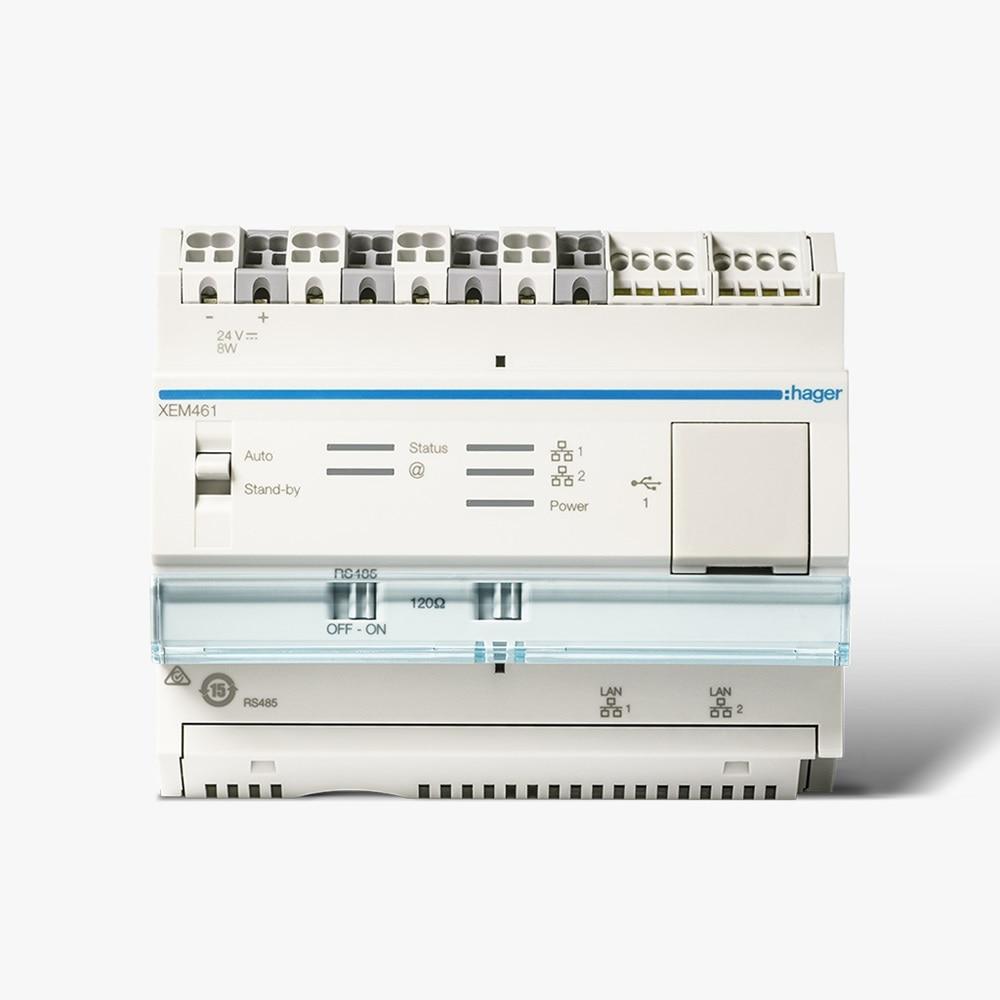 Der Hager Energiemanagement Controller flow als Steuereinheit für Stromspeicher und Autoladestation.
