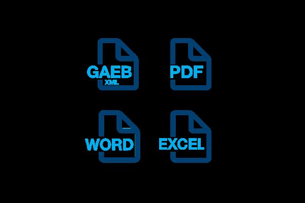 hagerplan: Ausgabeformat wahlweise als Word-, PDF- und GAEB XML-Datei