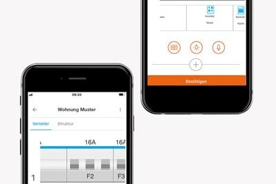Planung von Kleinverteilern und Berker Schalterprogrammen mit der mobilen Hager Ready App auf einem Smartphone.