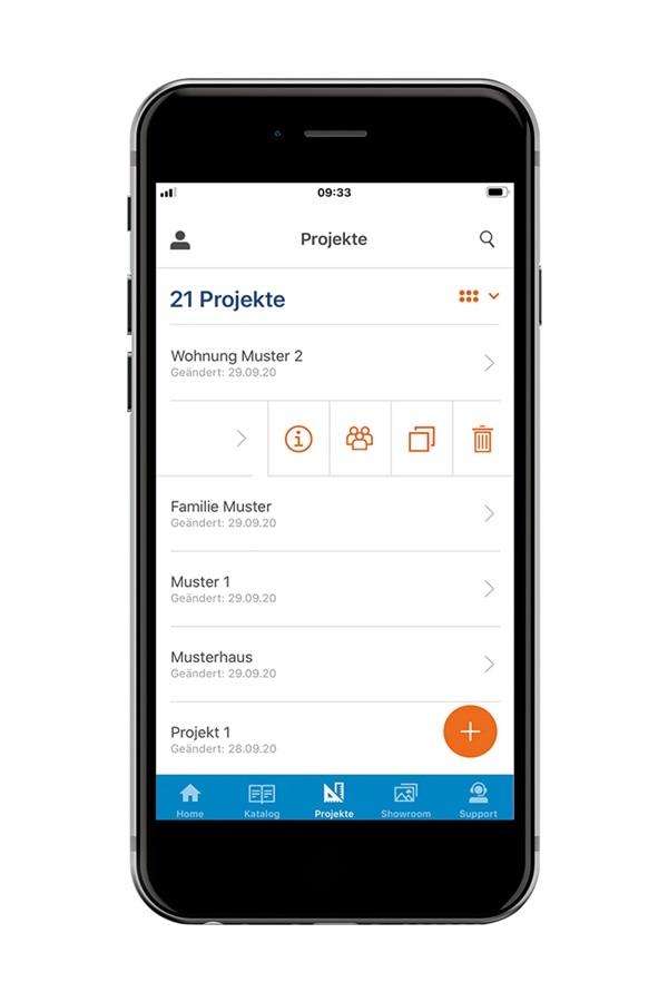 Mobile Hager Ready App mit Projekte erstellen und teilen Funktion auf einem Smartphone.