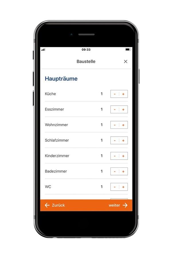 Mobiles Raumbuch, um Berker Schalter und Steckdosen mit Hager Ready App auf dem Smartphone zu planen.