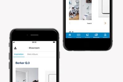 Mobiles Schaufenster der Hager Ready App als Showroom für Hager, Berker und Elcom Produkte auf dem Smartphone.