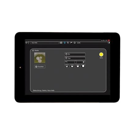 Tablet-Ansicht der Funktionen einzelner Räume der domovea Software