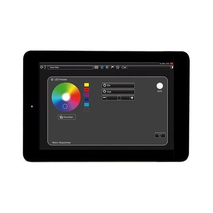 Tablet-Ansicht der Steuerung des LED-Farblichtes der domovea Software