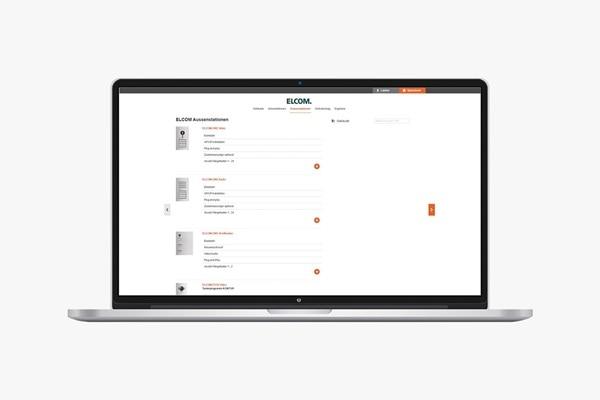 Laptop mit Elcom 2Draht Systemkonfigurator: Auswahl der Außenstation