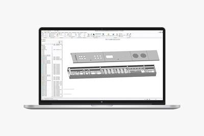 Laptop mit Konfigurationsprogramm der Mediensäule