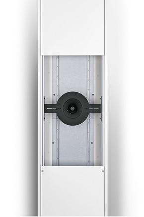 Ausschnitt einer Mediensäule (geöffnet) mit einer Halterung für Lautsprecher, verdeckter Einbau