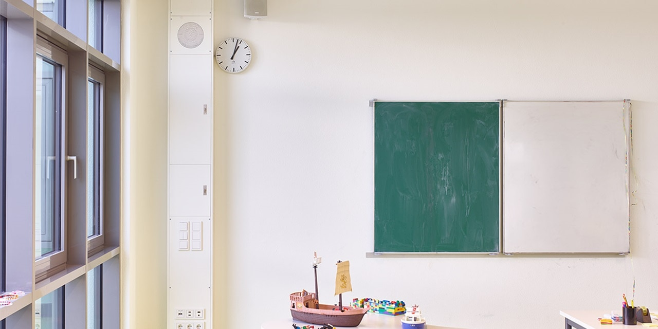 An der Grund- und Mittelschule in Zolling wird heute schon mit der Unterstützung der Mediensäule gelernt.