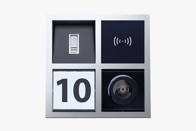 Individualisierbares Elcom Türsprechanlage mit Lautsprecher, Kamera, Klingelschild und Zugangskontrolle.