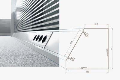 Eckkanal Tehalit aus Stahlblech mit Berker Steckdosen.