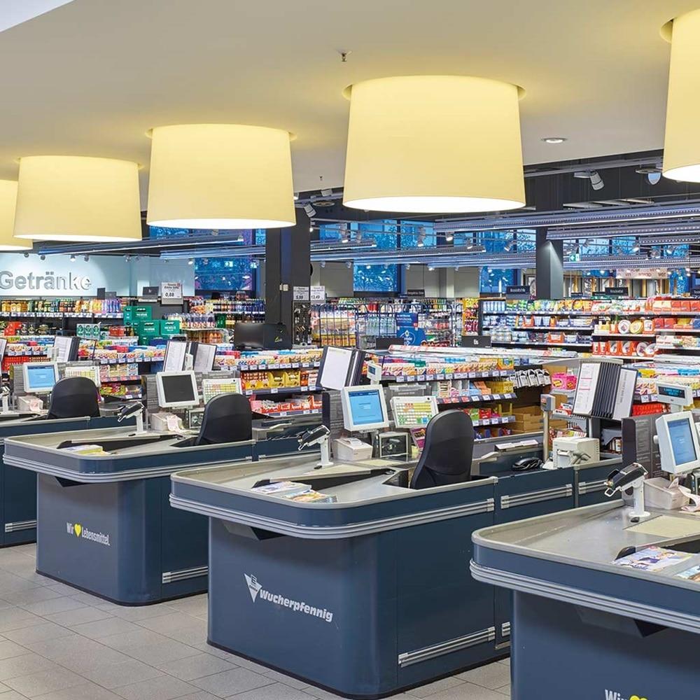 Kassenbereich des Einzelhandels Edeka. Eine Hager-Referenz für Retailkompetenz.