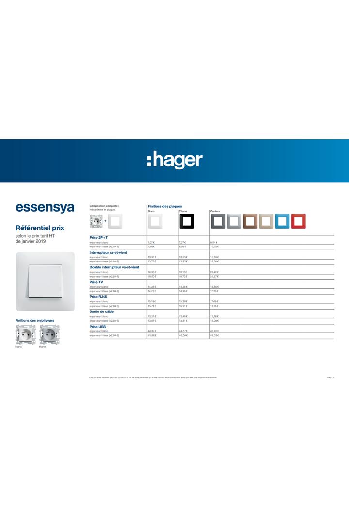 Hager brochure utilisateur final référentiel prix essensya