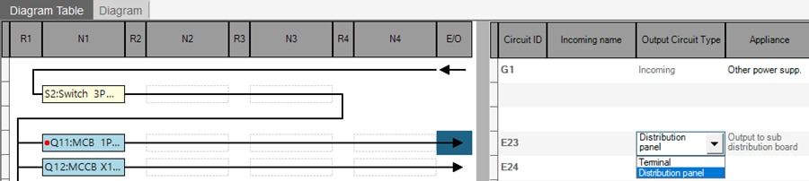 hagercad selecting output in diagram table