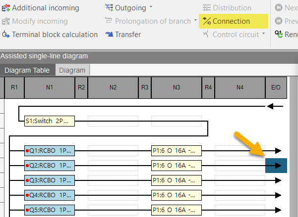 hagercad diagram connection options button