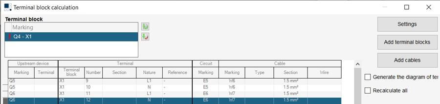 hagercad terminal block calcuation settings screen