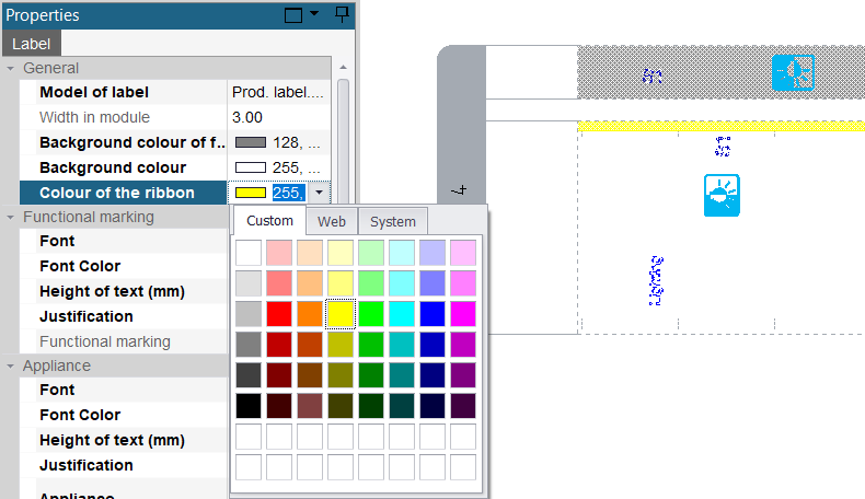 hagercad label background colour options